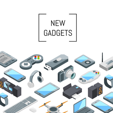 Vector isometric gadgets icons background with place for text illustration Ilustracje wektorowe
