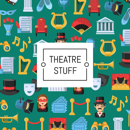 Vector flat theatre icons background ir colored pattern with place for text illustration Illusztráció