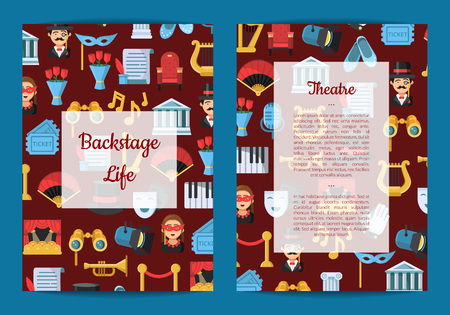 Vector flat theatre icons card or flyer template illustration. Banner and poster with colored pattern