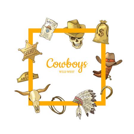 Elementi disegnati a mano del cowboy del selvaggio west di vettore che volano intorno al telaio con il posto per l'illustrazione del testo Archivio Fotografico