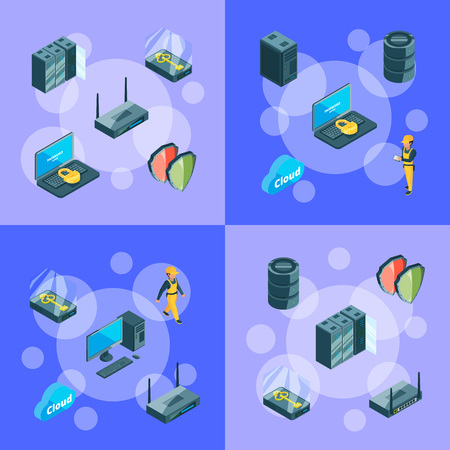 Vector electronic system of data center icons infographic concept illustration Illustration