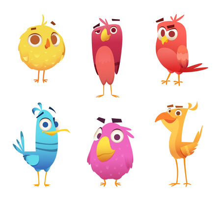 Angry cartoon birds. Chicken eagles canary animal faces and feathers vector game characters of colored birds. Illustration of color bird animal Ilustracje wektorowe