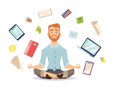 Business yoga concept. Office zen relax concentration at workspace table yoga practice vector illustration. Business concentration yoga, meditation zen pose Vektorové ilustrace