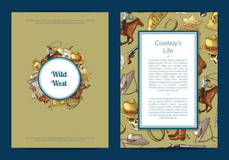Vector hand drawn wild west cowboy elements card or flyer template illustration. Vintage banner and poster 일러스트