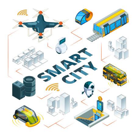 Ciudad inteligente 3d. Tecnologías urbanas del futuro, edificios inteligentes y vehículos de seguridad, drones, coches, entrega, transporte, imágenes isométricas vectoriales. Ilustración de ciudad inteligente, infraestructura de paisaje urbano futuro