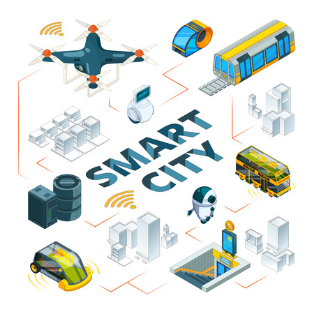 Smart city 3d. Urban future technologies smart buildings and safety vehicle drones cars delivery transport vector isometric pictures. Illustration of smart city, future cityscape infrastructure Çizim