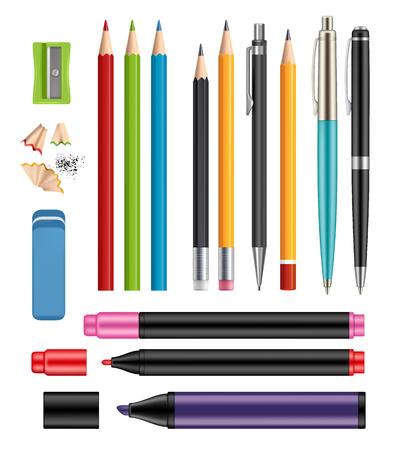 Lápices y bolígrafos. Papelería de oficina, artículos escolares de colores de la educación ayudan a vector colección realista 3d de lápices de madera de bolígrafo de plástico. Ilustración de lápiz escolar, bolígrafo de papelería, marcador de color Ilustración de vector