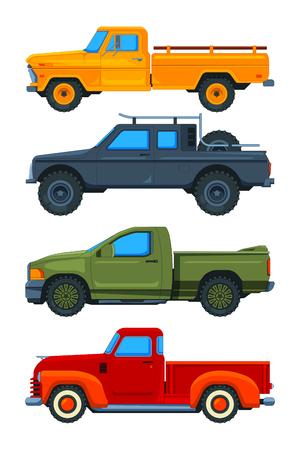Vektor-Pickups. Verschiedene Transportabbildungen. Illustration des Abholtransports, des Transportautos Vektorgrafik
