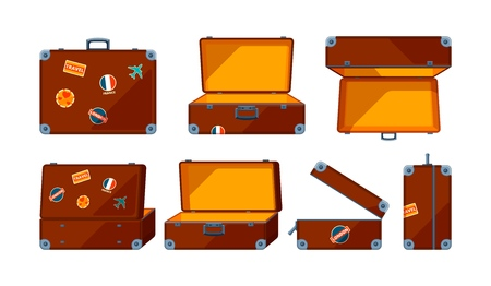 Travel case. Vector various views of travel case. Illustration of baggage and briefcase, suitcase container