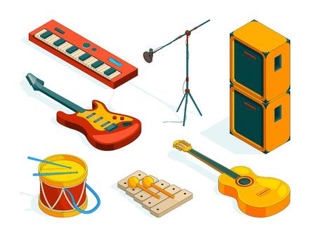 Strumenti musicali isometrici. Strumenti di immagini vettoriali di musicisti. Illustrazione oif strumento chitarra, musica acustica ed elettrica Vettoriali