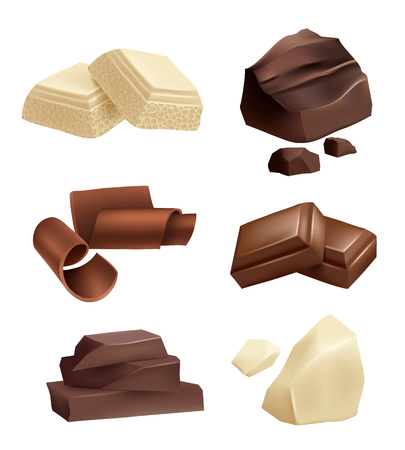 Chocolate icon set. Realistic pictures of chocolate various types. Food dessert sweet, cocoa snack, vector illustration