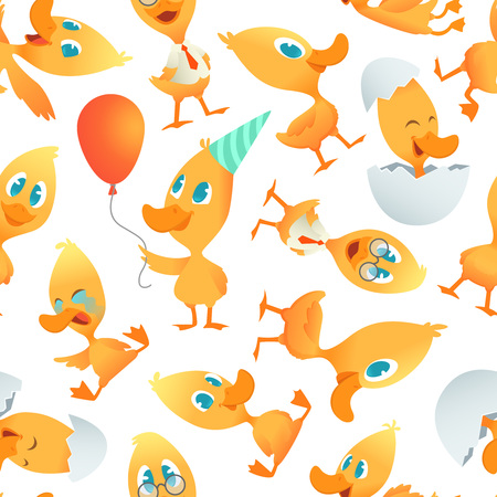 Cartoon ducks pattern. Seamless background with cartoon funny birds. Vector bird mascot character, wildlife mammal duckling illustration Illustration