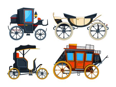 Retro Transportwagen. Vektorbilder von Wagen. Sammlung von Retro-Wagen, Wagen Victorian Illustration