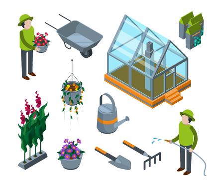 Kas bloemen. Agrarische concept 3d glazen huis met planten groenten fruit bomen kwekerij isometrische vectorillustraties. Isometrische broeikasgassen, landbouwgroente in kas Vector Illustratie