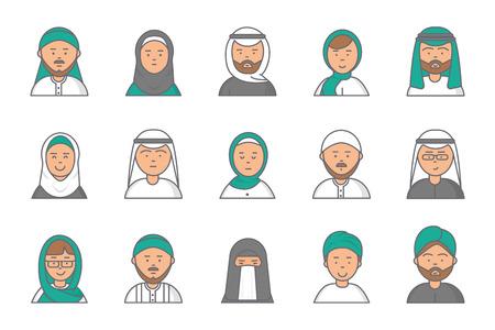 Islam linear avatars. Arabian muslim saudi male and female vector faces for web profile. Islam profile saudi man and woman, linear face nationality iranian illustration