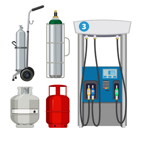 Stazione di servizio. Pompe di benzina di pompaggio tipi di bombole di metallo di vettore di cilindri. Pompa di benzina, stazione di servizio, industria petrolifera e pallone a gas combustibile