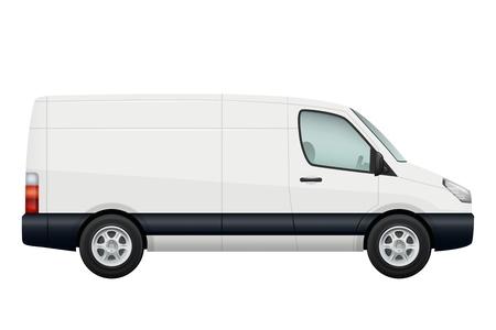Mini van car. Side view of white minivan isolated on white. Vehicle minibus or wagon. Vector illustration Illustration