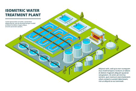 Water cleaning factory. Sewage treatment purification industry watering pipe systems and processes vector isometric pictures. Purity and storage purification, recycle industrial water illustration