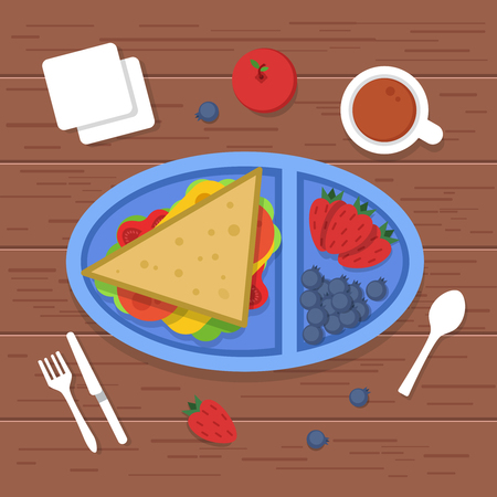 Lunch box on table. Place to eat food container sandwiches sliced fresh healthy fruits vegetables for dinner breakfast. Vector pictures lunch food, meal in container, dinner illustration Illustration