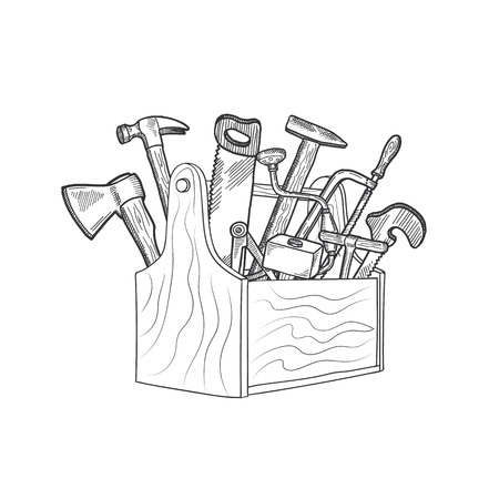 Vector hand drawn woodwork equipment in wooden toolbox isolated illustration. Toolbox with hammer and tool equipment Vectores