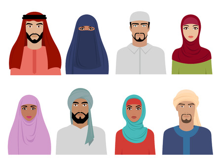 Arab national clothes. Islamic iranian turkish and arabic fashion for male and female headscarf hijab and dresses vector illustrations. Islam hijab, islamic dress, eastern arabic woman and man Illustration