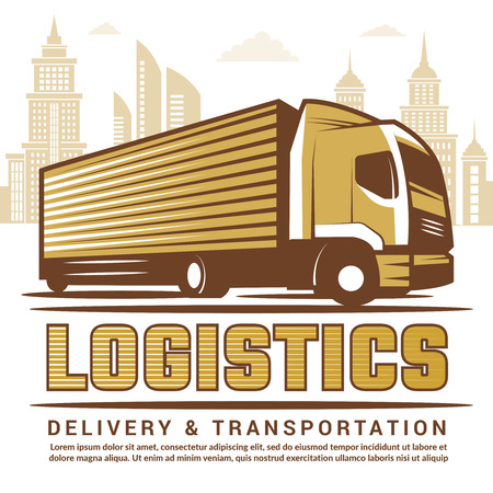 Logistics background. Vector stylized illustration of truck and different symbols of transportation company. Truck delivery transportation, transport company logistic