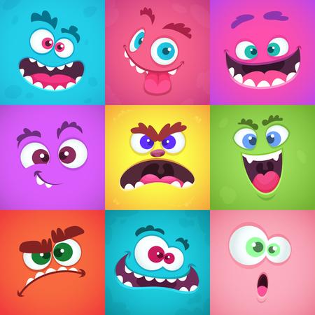 Émotions de monstres. Masques de visages effrayants avec la bouche et les yeux de l'ensemble d'émoticônes vectorielles monstres extraterrestres. Halloween extraterrestre mignon, illustration plate de personnage drôle de tête