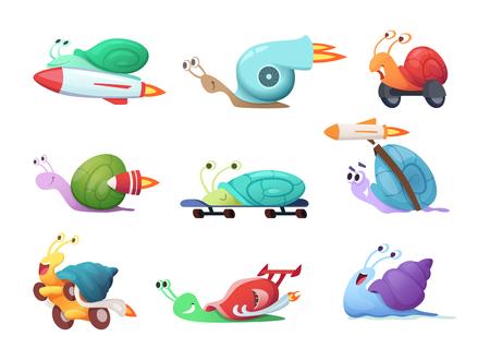Personaggi dei cartoni animati di lumache. Illustrazioni vettoriali di lumaca di mare lento o caracoles. Carattere di lumaca veloce e veloce, collezione di insetti di melma Vettoriali