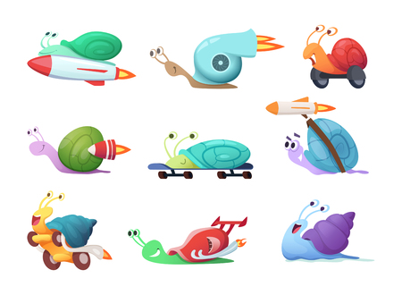 Snails cartoon characters. Slow sea slug or caracoles vector illustrations. Speed and fast snail character, slime insect collection Ilustracja