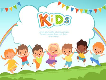 Dzieci skaczące w tle. Szczęśliwe dzieci bawiące się płci męskiej i żeńskiej na szablonie wektora placu zabaw z miejscem na Twój tekst. Szczęśliwa dziewczyna i chłopak, grają w zabawne skoki, przyjaźń i ilustracja z dzieciństwa Ilustracje wektorowe