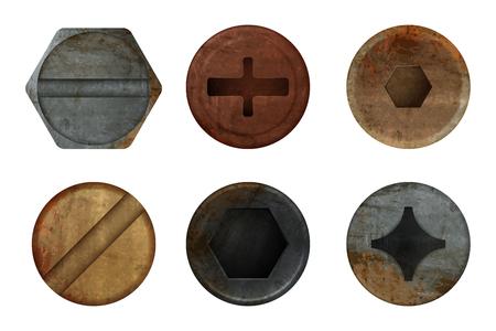 Tornillo de pernos oxidados viejos. Textura de metal óxido de hardware para diferentes herramientas de hierro. Vector imágenes realistas tornillo superior, ilustración de fijación de cabeza oxidada de hierro Ilustración de vector
