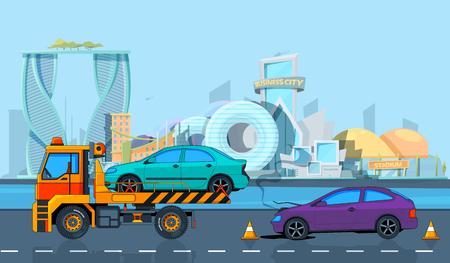 Accidente de transporte en paisaje urbano. Fondo de vector en estilo de dibujos animados. Ilustración de evacuación por carretera, coche de transporte roto.