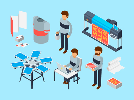 Printing house tools. Industrial inkjet offset publishing laser machine printer coloring copier vector 3d isometric. Illustration of printing and publishing, coloring copier, photocopier printer