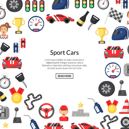 Vector flat car racing icons background with place for text illustration. Banner poster web 向量圖像