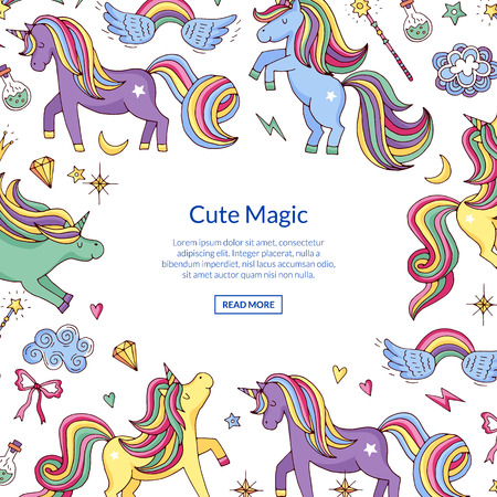 Banner vector cute hand drawn magic unicorns and stars background with place for text illustration Иллюстрация