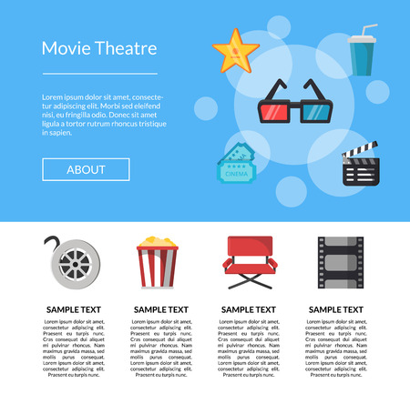 Vector flat cinema, movie film icons landing web page template illustration Illustration