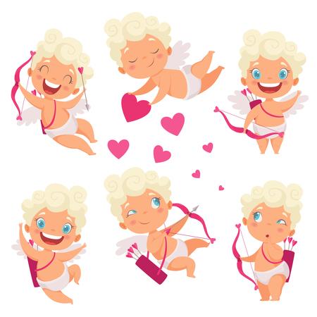 Angelo bambino Amur. Carino divertente cupido piccolo dio eros grecia bambini con immagini vettoriali romantici cacciatori di cuore arco. Angelo di San Valentino con cuore, cupido amore amur illustrazione Vettoriali