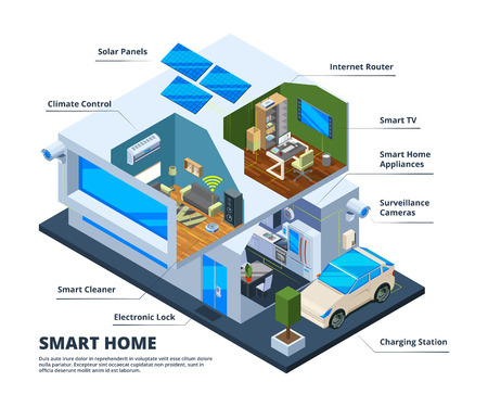 Smart home rooms. House internet connection households tools digital television tablets smartphones cloud home network vector concept. Illustration of wireless innovation equipment Illustration