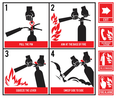 Fire fighting technical illustration. Vector silhouette of fire extinguisher. Instruction fire equipment, extinguisher and protection Imagens