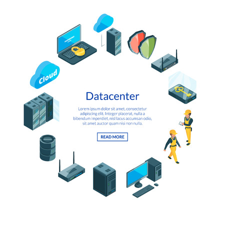 Vector electronic system of data center icons in circle shape with place for text illustration Reklamní fotografie