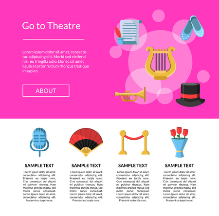 Vector flat theatre icons landing page template webpage infographic illustration