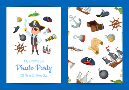 Vector cartoon sea pirates birthday party invitation banner and poster template illustration
