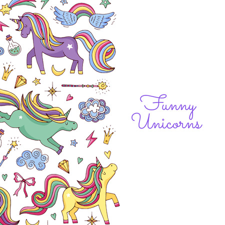 Vector cute hand drawn magic unicorns and stars background with place for text illustration. Banner and poster colored