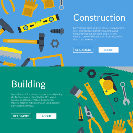 Vector flat construction tools web banner and poster templates illustration Illustration