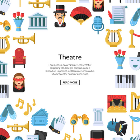 Vector flat theatre icons background with place for text illustration. Art banner and poster Stock Photo