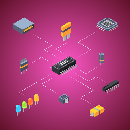 Vector isometric microchips and electronic parts icons infographic connection concept illustration