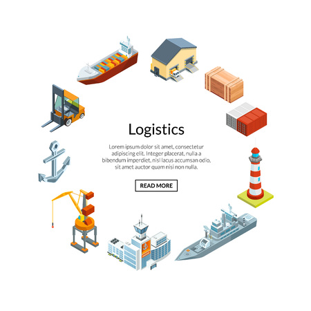 Vector isometric marine logistics and seaport in circle shape with place for text illustration