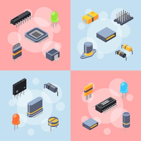 Vector banner and poster with isometric microchips and electronic parts icons infographic concept illustration