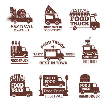 Food truck logo. Street festival van fast catering outdoor kitchen vector labels and badges monochrome style. Illustration of festival delivery street, restaurant van badge 写真素材 - 109433969
