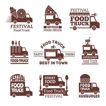 Logotipo de camión de comida. Street festival van fast catering cocina al aire libre vector etiquetas e insignias estilo monocromo. Ilustración de la calle de entrega del festival, insignia de la furgoneta del restaurante